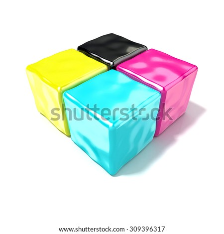 CMYK cubes sign, like symbol of printing. 3D render isolated on white background - stock photo