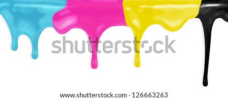 CMYK cyan magenta yellow black paints isolated with clipping path included - stock photo