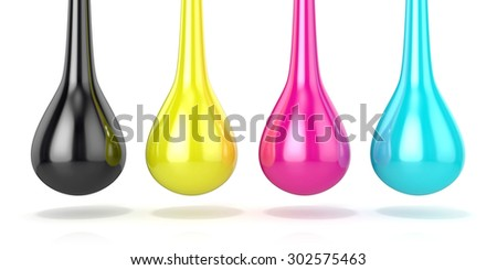 CMYK ink droplets sign. 3D render isolated on white background - stock photo