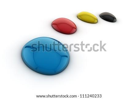 Cmyk ink drops - stock photo