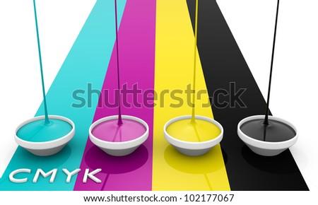 CMYK liquid inks spilling, 3D render image - stock photo