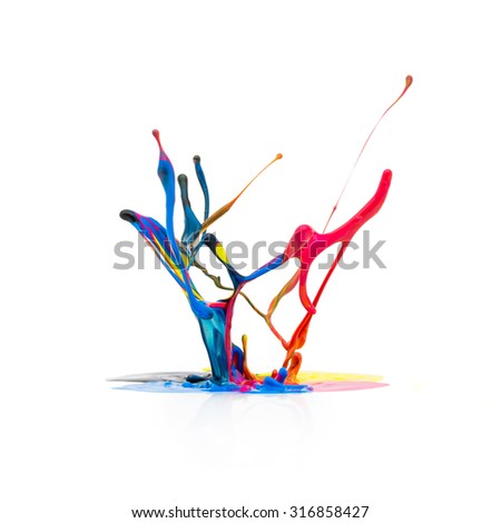 CMYK paint colors splashing  - stock photo