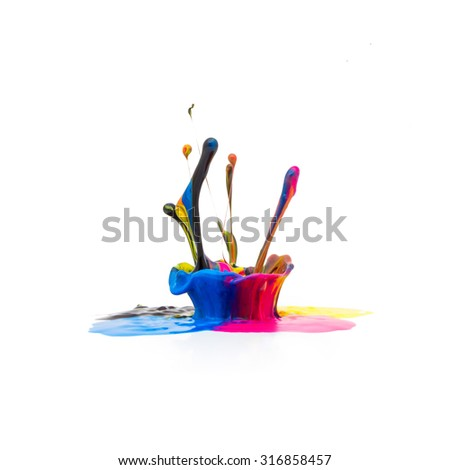 CMYK paint splash colors isolated on white background - stock photo