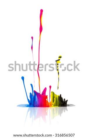CMYK paint splashing isolated on white background - stock photo