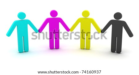 CMYK people standing in a row - stock photo