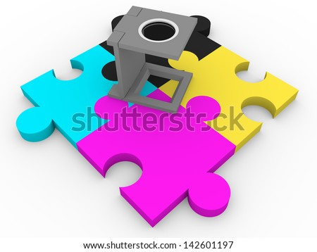CMYK puzzle pieces and a loupe. Graphic arts and prepress industry elements. Cuentahilos - stock photo