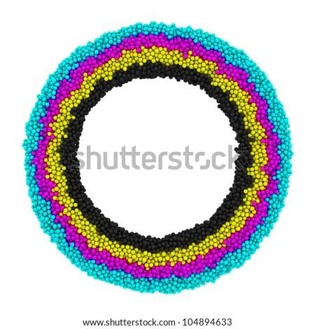 CMYK round frame isolated on the white background - stock photo