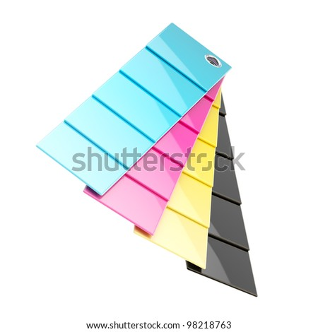 CMYK typographic press palette plates isolated on white - stock photo