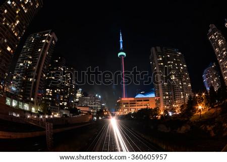 CN tower in the night, Toronto - stock photo