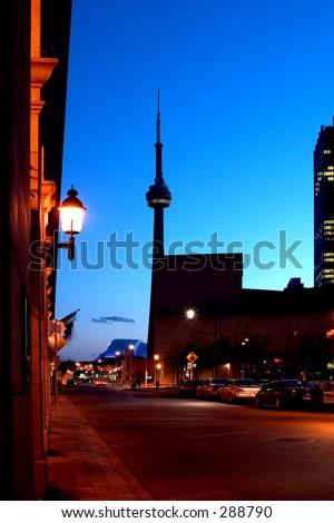 CN tower night - stock photo