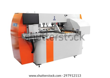 CNC high precision drilling machine, isolated on white - stock photo