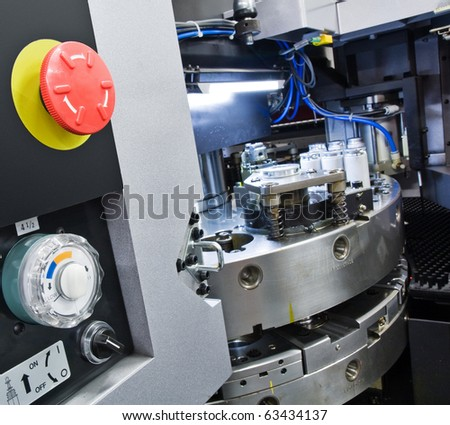 cnc machinery with control panel - stock photo