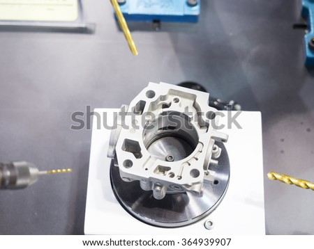 CNC machining center cutting mold by endmill cad cam  - stock photo