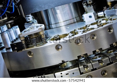 CNC punching machine - revolver detail - stock photo
