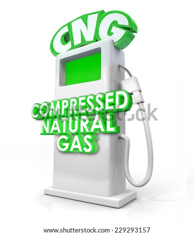 CNG acronym in greed 3d letters on an alternative fuel pump and words Compressed Natural Gas on it to advertise the clean energy or power option - stock photo