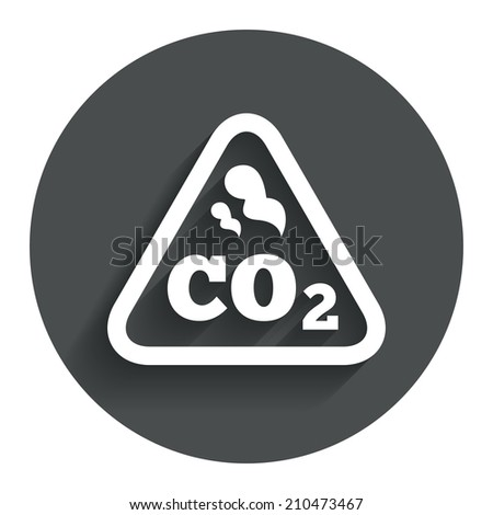 CO2 carbon dioxide formula sign icon. Chemistry symbol. Circle flat button with shadow. Modern UI website navigation. - stock photo
