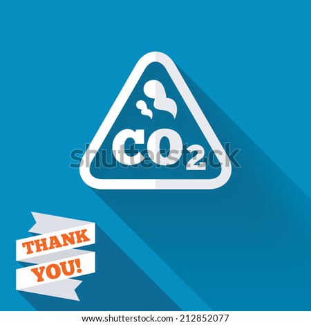 CO2 carbon dioxide formula sign icon. Chemistry symbol. White flat icon with long shadow. Paper ribbon label with Thank you text. - stock photo