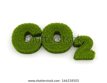 Co2  grass 3d letters isolated on white  - stock photo