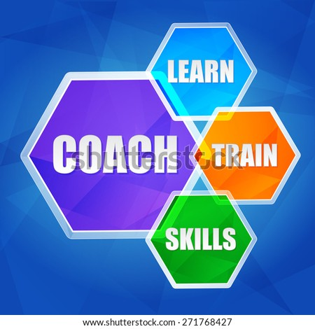 coach, learn, train, skills - business education motivation concept words in color hexagons over blue background, flat design - stock photo