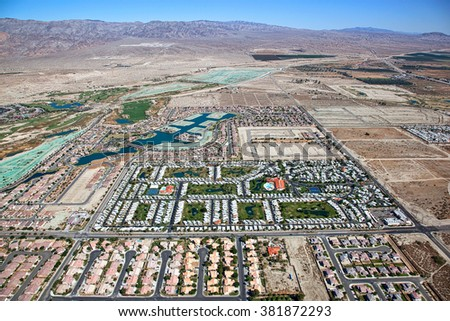 Coachella Valley and Indio Hills aerial view - stock photo