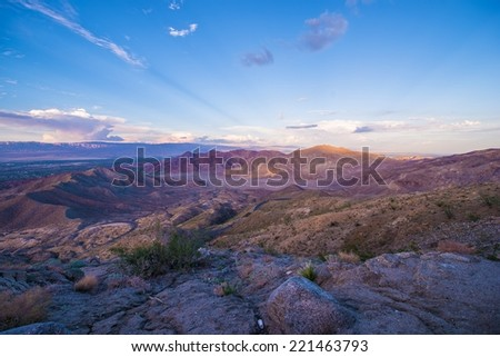 Coachella Valley and Mountains Summer Sunset. Palm Desert, Palm Springs and La Quinta City in the Valley. California, USA. - stock photo