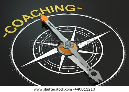 Coaching compass concept, 3D rendering - stock photo