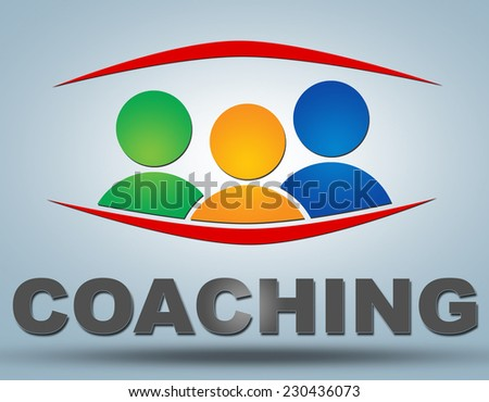 Coaching text illustration concept on grey background with group of people icons - stock photo