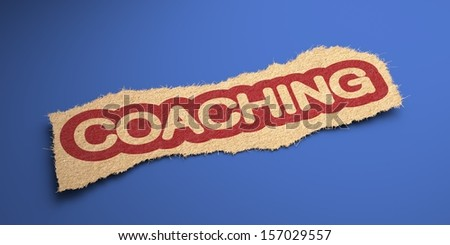 Coaching Word of Rough Paper, Circled in Red, on Blue Background. Business Concept. 3D Render. - stock photo