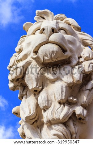 Coade Stone Lion in London - stock photo