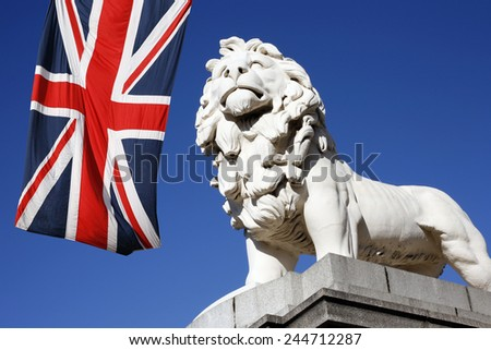 Coade Stone Lion seen from Westminster Bridge - stock photo