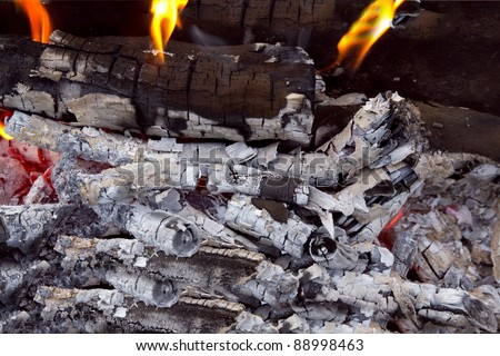 coal and wood ash from burning in an oven - stock photo
