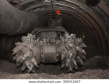 Coal car underground tunnel before work - stock photo