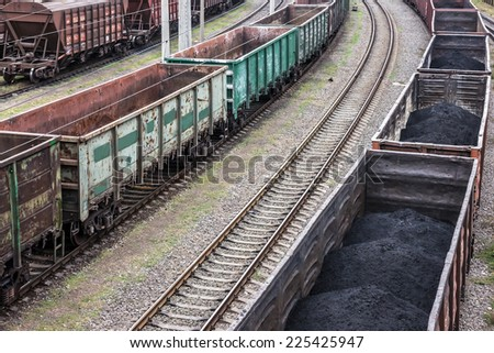 coal cargo in railway cars  - stock photo