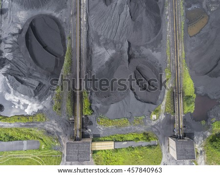 Coal exploration and machine. View from above.  - stock photo