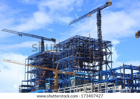 Coal fire power plant under construction.  - stock photo