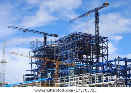 Coal fire power plant under construction.  - stock photo