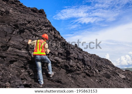 coal geologist at lignite mine North of THAILAND - stock photo