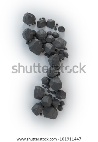 Coal lumps forming a footprint - Carbon footrpint concept - stock photo