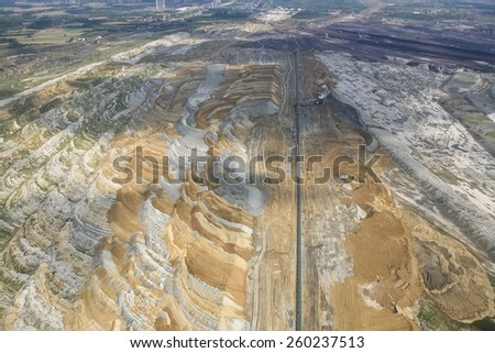 Coal mine, aerial view - stock photo