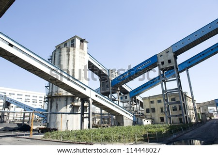 Coal mine coal conveying channel - stock photo