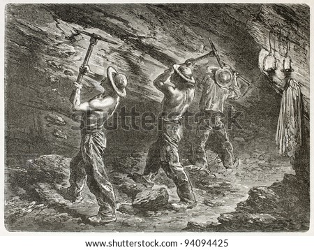 Coal miners at work. Created by Mesnel, published on Le Tour du Monde, Paris, 1867 - stock photo