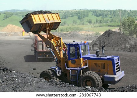 Coal mining. Coal loader.  - stock photo