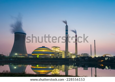 coal power plant in nightfall , industry landscape  - stock photo