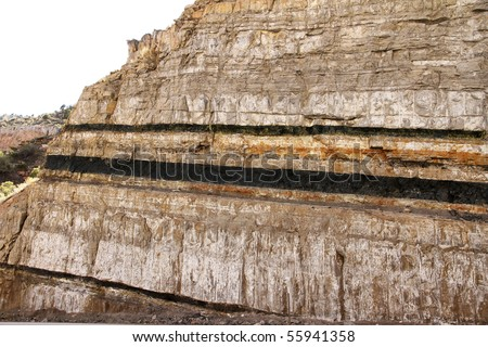 coal seams in a mining test cut - stock photo