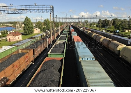 Coal trucks on the Trans-Siberian Railway - stock photo