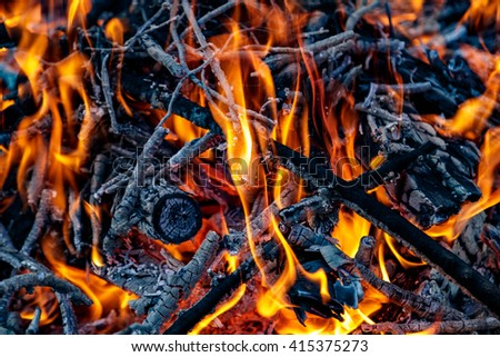 Coals. Fire. Bonfire. - stock photo