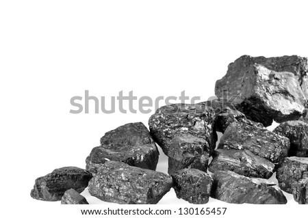 Coals on white background. Copy space. - stock photo