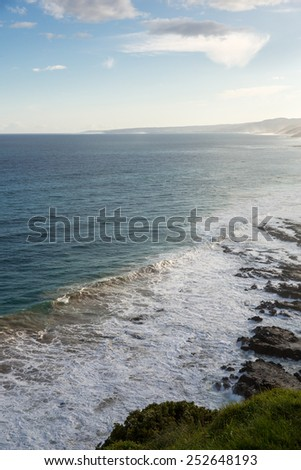 Coast line along the Great Ocean Road in Australia. - stock photo