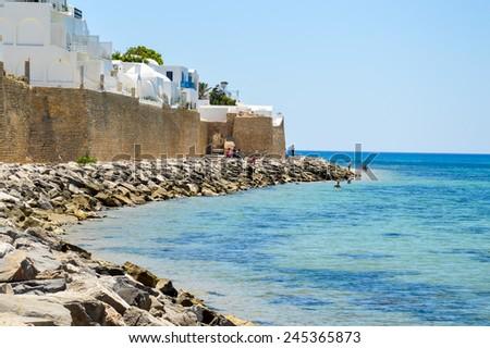 Coast line of Hammamet in Tunisia - stock photo
