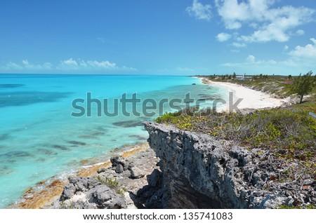 Coast line of Little Exuma, Bahamas - stock photo